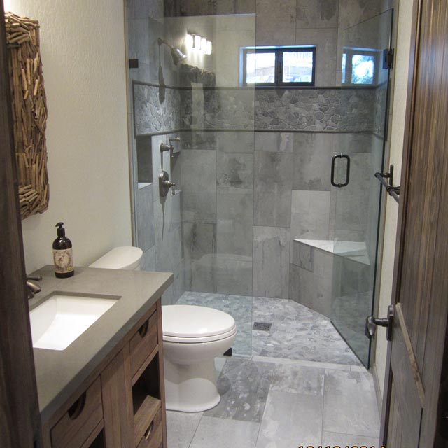 bathroom with 2 sinks grey-tile-shower2 ...